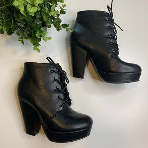 Cathy Jean Black Lace up Booties